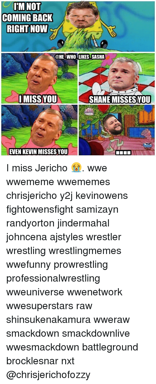 Memes, Wrestling, and World Wrestling Entertainment: M NOT  COMING BACK  RIGHT NOW  @HE WHO LIKES SASHA  I MISS YOU  SHANE MISSES YOU  EVEN KEVIN MISSES YOU I miss Jericho 😭. wwe wwememe wwememes chrisjericho y2j kevinowens fightowensfight samizayn randyorton jindermahal johncena ajstyles wrestler wrestling wrestlingmemes wwefunny prowrestling professionalwrestling wweuniverse wwenetwork wwesuperstars raw shinsukenakamura wweraw smackdown smackdownlive wwesmackdown battleground brocklesnar nxt @chrisjerichofozzy