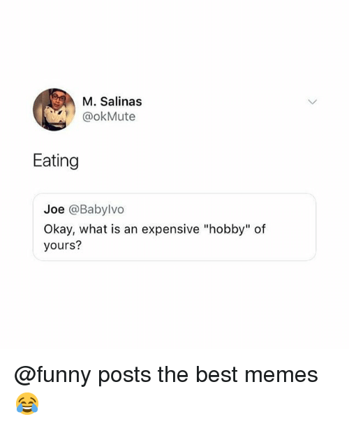 "Funny, Memes, and Best: M. Salinas  @okMute  Eating  Joe @Babylvo  Okay, what is an expensive ""hobby"" of  yours? @funny posts the best memes 😂"