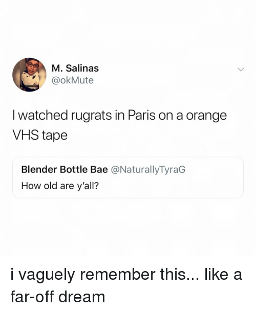 Rugrats: M. Salinas  @okMute  I watched rugrats in Paris on a orange  VHS tape  Blender Bottle Bae @NaturallyTyraG  How old are y'all? i vaguely remember this... like a far-off dream