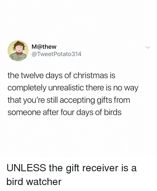 receiver: M@thew  @TweetPotato314  the twelve days of christmas is  completely unrealistic there is no way  that you're still accepting gifts from  someone after four days of birds UNLESS the gift receiver is a bird watcher