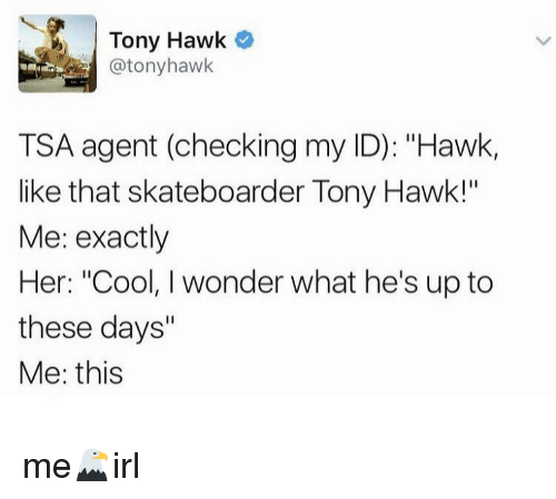 "Irl, Tsa, and Hawking: M Tony Hawk  @tony hawk  TSA agent (checking my ID): ""Hawk,  like that skateboarder Tony Hawk!""  Me: exactly  Her: ""Cool, I wonder what he's up to  these days""  Me: this me🦅irl"