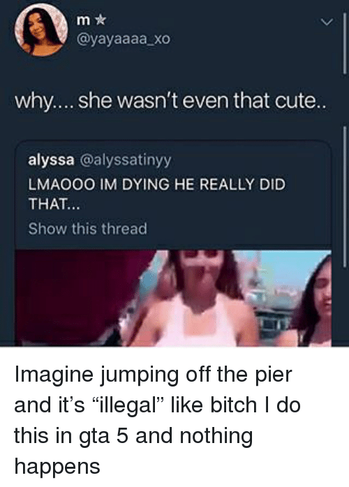 "Bitch, Cute, and Gta 5: m *  @yayaaaa xo  why.... she wasn't even that cute..  alyssa @alyssatinyy  LMAOOO IM DYING HE REALLY DID  THAT  Show this thread Imagine jumping off the pier and it's ""illegal"" like bitch I do this in gta 5 and nothing happens"