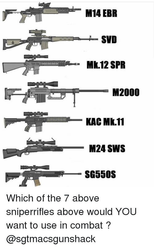 Kac: M14 EBR  SVD  Mk.12 SPR  M2000  KAC Mk.11  M24 SWS  SG550S Which of the 7 above sniperrifles above would YOU want to use in combat ? @sgtmacsgunshack