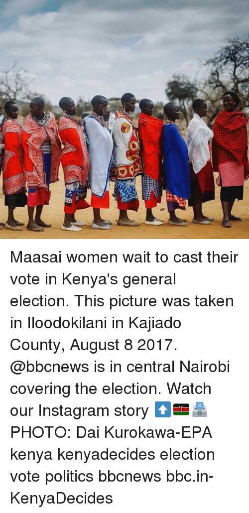 Casted: Maasai women wait to cast their vote in Kenya's general election. This picture was taken in Iloodokilani in Kajiado County, August 8 2017. @bbcnews is in central Nairobi covering the election. Watch our Instagram story ⬆️🇰🇪🗳PHOTO: Dai Kurokawa-EPA kenya kenyadecides election vote politics bbcnews bbc.in-KenyaDecides