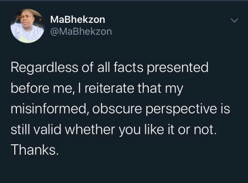 valid: MaBhekzon  @MaBhekzon  Regardless of all facts presented  before me, I reiterate that my  misinformed, obscure perspective is  still valid whether you like it or not.  Thanks.