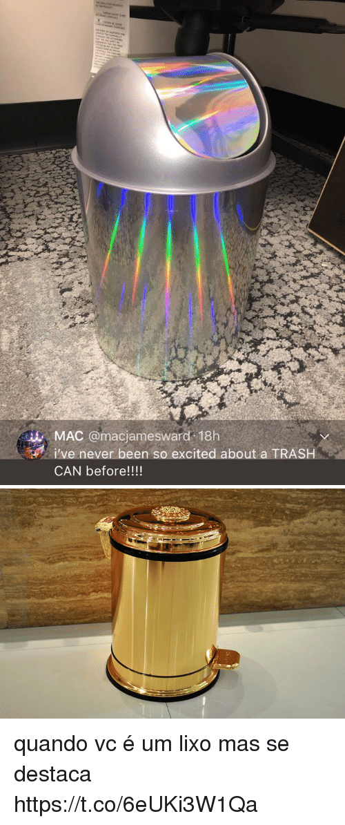Trash, Pt-Br (Brazilian Portuguese), and Never: MAC @macjamesward 18h  i've never been so excited about a TRASH  CAN before!!!! quando vc é um lixo mas se destaca https://t.co/6eUKi3W1Qa