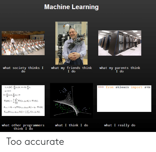 I Think I Do: Machine Learning  what society thinks I  what my friends think  I do  what my parents think  I do  >from sklearn import svm  what other programmers  think I do  what I think I do  what I really do Too accurate