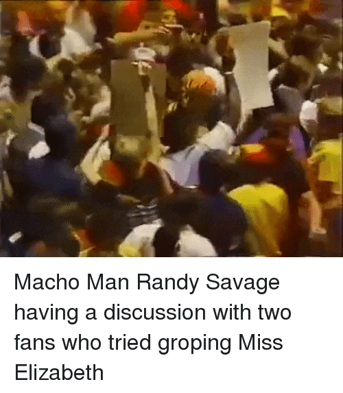 Macho Man Randy Savage: Macho Man Randy Savage having a discussion with two fans who tried groping Miss Elizabeth