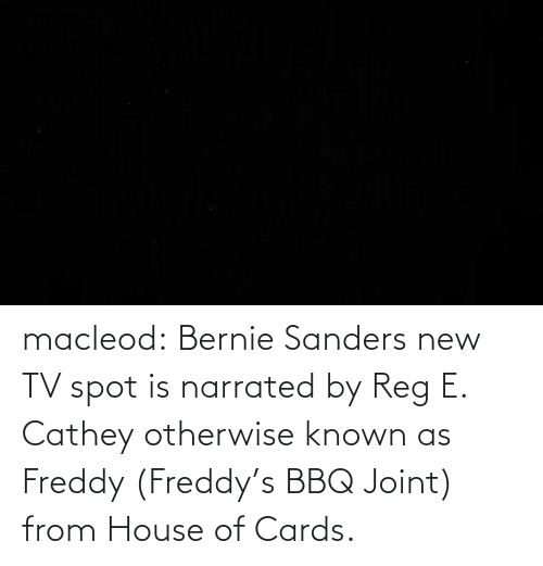 New Tv: macleod:  Bernie Sanders new TV spot is narrated byReg E. Catheyotherwise known as Freddy (Freddy's BBQ Joint) from House of Cards.