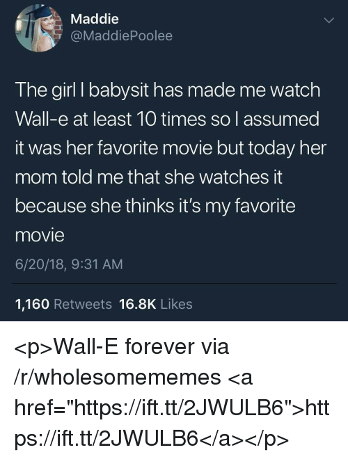 """Wall-E: Maddie  @MaddiePoolee  The girl I babysit has made me watch  Wall-e at least 10 times so l assumed  it was her favorite movie but today her  mom told me that she watches it  because she thinks it's my favorite  movie  6/20/18, 9:31 AM  1,160 Retweets 16.8K Likes <p>Wall-E forever via /r/wholesomememes <a href=""""https://ift.tt/2JWULB6"""">https://ift.tt/2JWULB6</a></p>"""