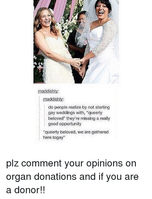 """Organizer: maddishly  maddishly  do people realize by not starting  gay weddings with, """"queerly  beloved"""" they're missing a really  good opportunity  """"queerly beloved, we are gathered  here togay plz comment your opinions on organ donations and if you are a donor!!"""