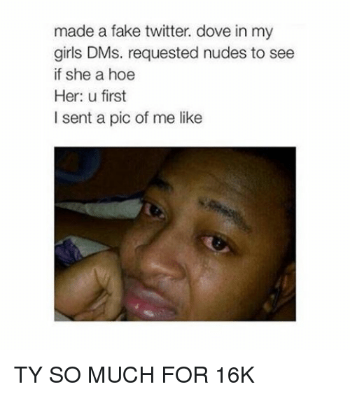 Dove, Fake, and Girls: made a fake twitter. dove in my  girls DMs. requested nudes to see  if she a hoe  Her: u first  I sent a pic of me like TY SO MUCH FOR 16K