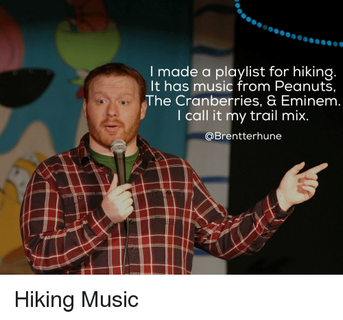the cranberries: made a playlist for hiking  It has music from Peanuts,  The Cranberries, & Eminem  I call it my trail mix  Brentterhune Hiking Music