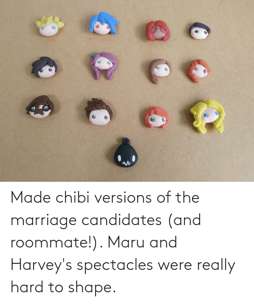 Marriage: Made chibi versions of the marriage candidates (and roommate!). Maru and Harvey's spectacles were really hard to shape.