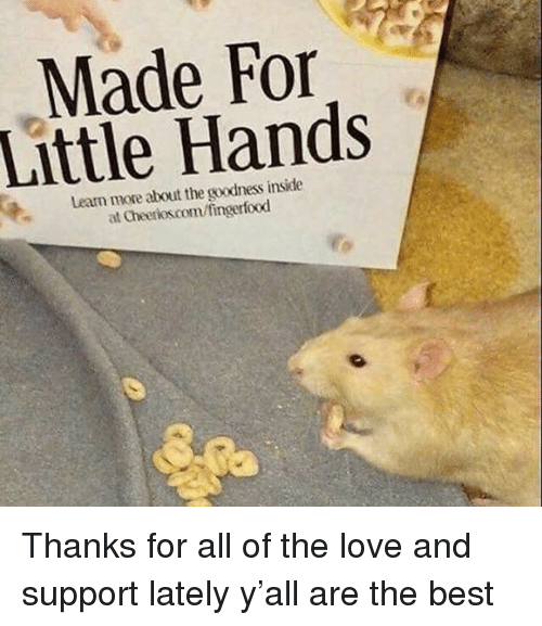 Cheerios: Made For  Little Hands  Learn more about the goodness inside  at Cheerios.com/fingerfood Thanks for all of the love and support lately y'all are the best