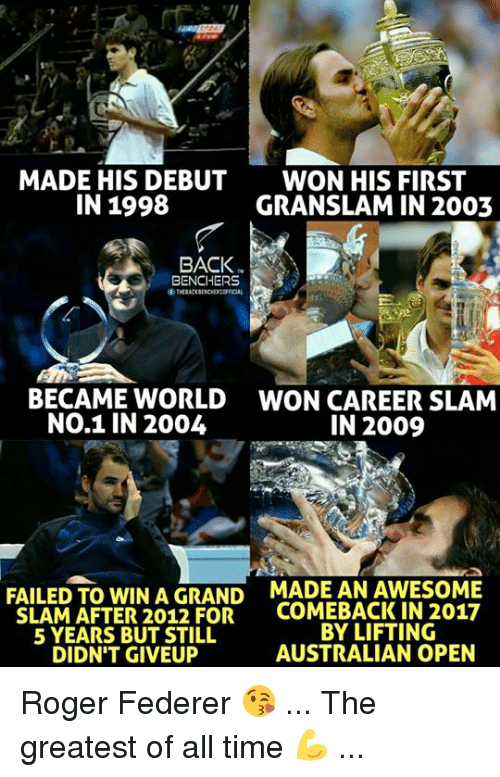 Memes, Roger, and Time: MADE HIS DEBUT  IN 1998  WON HIS FIRST  GRANSLAM IN 2003  BACK  BENCHERS  THEBACKBENCHERSOFICAL  ぐ  BECAME WORLD  NO.1 IN 2004  WON CAREER SLAM  IN 2009  FAILED TO WIN A GRAND  SLAM AFTER 2012 FOR  5 YEARS BUT STILL  DIDN'T GIVEUP  MADE AN AWESOME  COMEBACK IN 2017  BY LIFTING  AUSTRALIAN OPEN Roger Federer 😘 ... The greatest of all time 💪 ...