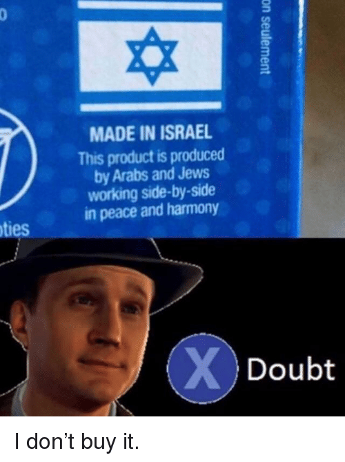Produced By: MADE IN ISRAEL  This product is produced  by Arabs and Jews  working side-by-side  in peace and harmony  ties  Doubt I don't buy it.