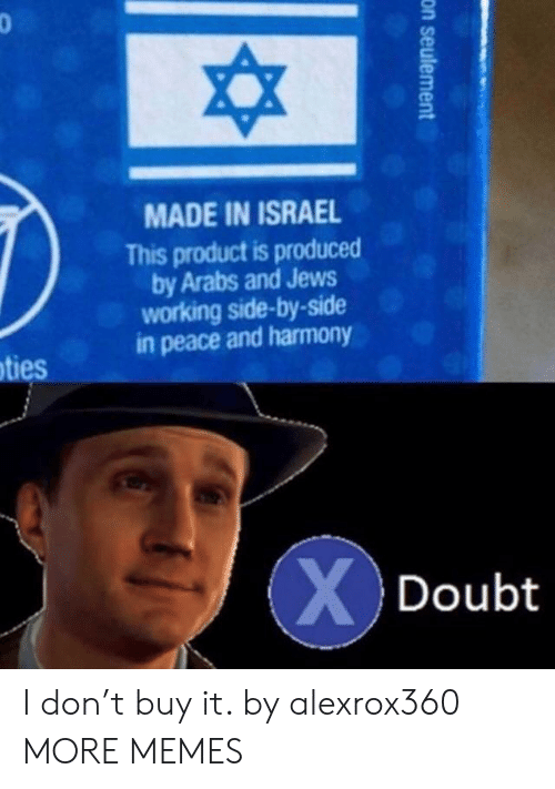 Produced By: MADE IN ISRAEL  This product is produced  by Arabs and Jews  working side-by-side  in peace and harmony  ties  Doubt I don't buy it. by alexrox360 MORE MEMES