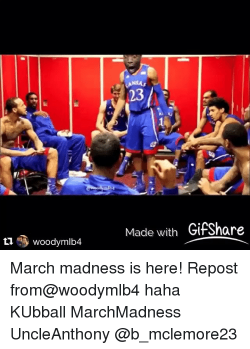 Kansas University Memes: Made with GifShare March madness is here! Repost from@woodymlb4 haha KUbball MarchMadness UncleAnthony @b_mclemore23