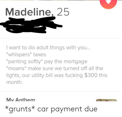 Taxes: Madeline, 25  I want to do adult things with you...  *whispers* taxes  *panting softly* pay the mortgage  *moans* make sure we turned off all the  lights, our utility bill was fucking $300 this  month.  My Anthem *grunts* car payment due