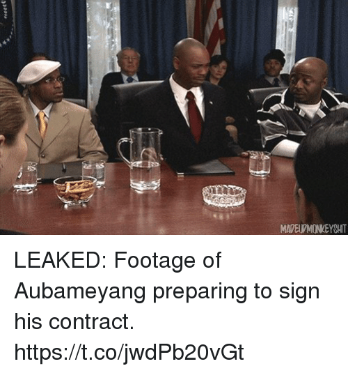 Soccer, Sign, and Preparing: MADELPMONKEYSHIT LEAKED: Footage of Aubameyang preparing to sign his contract. https://t.co/jwdPb20vGt