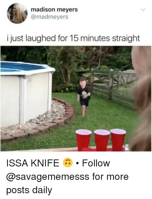 Memes, 🤖, and Madison: madison meyers  @madmeyers  i just laughed for 15 minutes straight ISSA KNIFE 🙃 • Follow @savagememesss for more posts daily