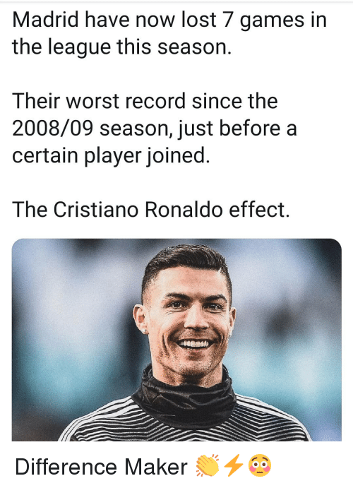 Cristiano Ronaldo: Madrid have now lost 7 games in  the league this season.  Their worst record since the  2008/09 season, just before a  certain player joined.  The Cristiano Ronaldo effect. Difference Maker 👏⚡😳