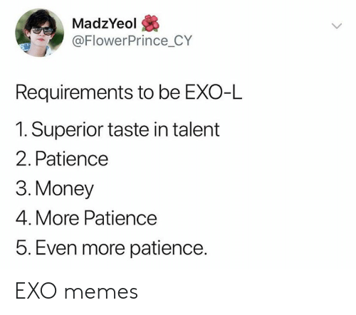Patience: MadzYeol  @FlowerPrince_CY  Requirements to be EXO-L  1. Superior taste in talent  2. Patience  3. Money  4. More Patience  5. Even more patience. EXO memes