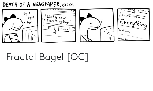bagel: /mages  DEATH OF A NEWS PAPER.com  1 result in O.02 seconds  Everything  Туре  Туре  . Туре  What is on an  everything bagel  End of resulte  Images  earchee Fractal Bagel [OC]