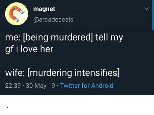 magnet: magnet  @arcadeseals  me: [being murdered] tell my  gf i love her  wife: [murdering intensifies]  22:39 30 May 19 Twitter for Android .