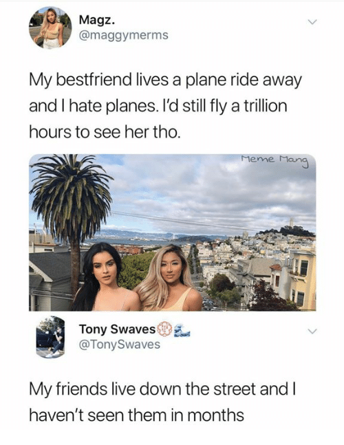 meme man: Magz.  @maggymerms  My bestfriend lives a plane ride away  and I hate planes. l'd still fly a trillion  hours to see her tho.  meme Man  Tony Swaves  @TonySwaves  My friends live down the street and l  haven't seen them in months