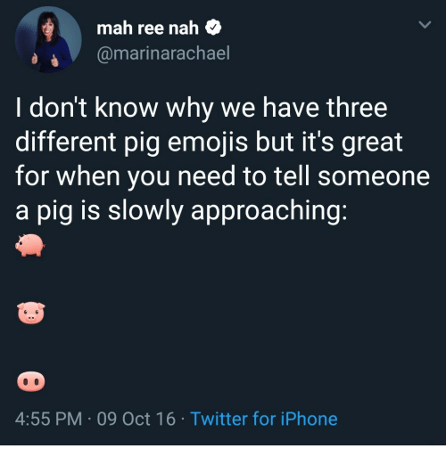 Oct 16: mah ree nah $  @marinarachael  I don't know why we have three  different pig emojis but it's great  for when you need to tell someone  a pig is slowly approaching  4:55 PM 09 Oct 16 Twitter for iPhone