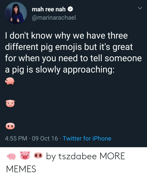 Oct 16: mah ree nah $  @marinarachael  I don't know why we have three  different pig emojis but it's great  for when you need to tell someone  a pig is slowly approaching  4:55 PM 09 Oct 16 Twitter for iPhone 🐖 🐷 🐽 by tszdabee MORE MEMES