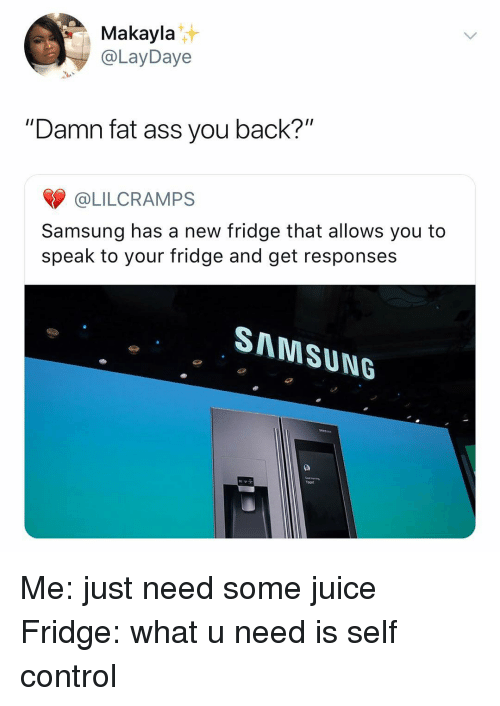 """Ass, Fat Ass, and Juice: Makayla  @LayDaye  """"Damn fat ass you back?""""  @LILCRAMPS  Samsung has a new fridge that allows you to  speak to your fridge and get responses  SAMSUNG Me: just need some juice Fridge: what u need is self control"""