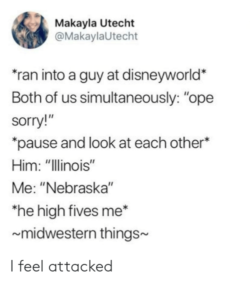 """Makayla: Makayla Utecht  @MakaylaUtecht  ran into a guy at disneyworld'*  Both of us simultaneously: """"ope  sorry  pause and look at each other*  Him: """"Illinois""""  Me: """"Nebraska""""  he high fives me*  midwestern things~ I feel attacked"""