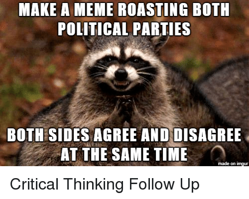 political parties: MAKE A MEME ROASTING BOTH  POLITICAL PARTIES  BOTH SIDES AGREE ANDDISAGREE  AT THE SAME TIME  made on imgur Critical Thinking Follow Up