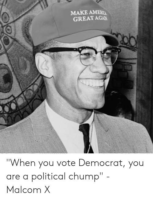 "malcom x: MAKE AMERIC  GREAT AGAN ""When you vote Democrat, you are a political chump"" - Malcom X"