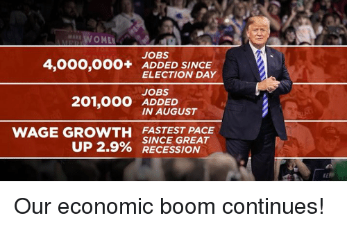 election day: MAKE  AWOMEN  JOBS  4,000,OOO+ ADDED SINCE  ELECTION DAY  JOBS  ADDED  IN AUGUST  WAGE GROWTH FASTEST PACE  UP 2.9% SINCE GREAT  O RECESSION Our economic boom continues!