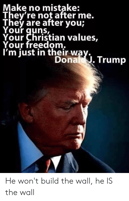 Donal Trump: Make no mistake:  They're not after me.  They are after you;  Your guns,  Your Christian values,  Your freedom.  I'm just in their way.  Donal .Trump He won't build the wall, he IS the wall