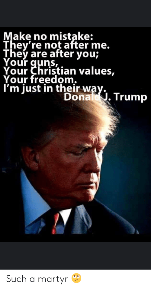 Donal Trump: Make no mistake:  They're not after me.  They are after you;  Your quns,  Your Christian values,  Your freedom.  I'm just in their way.  Donal. Trump Such a martyr 🙄