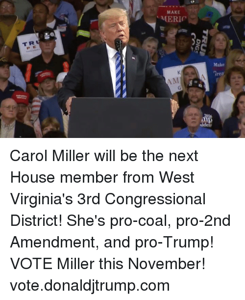 House, Trump, and Pro: MAKE  T R  P E  rea Carol Miller will be the next House member from West Virginia's 3rd Congressional District! She's pro-coal, pro-2nd Amendment, and pro-Trump! VOTE Miller this November! vote.donaldjtrump.com