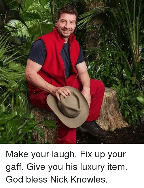 knowles: Make your laugh. Fix up your gaff. Give you his luxury item. God bless Nick Knowles.