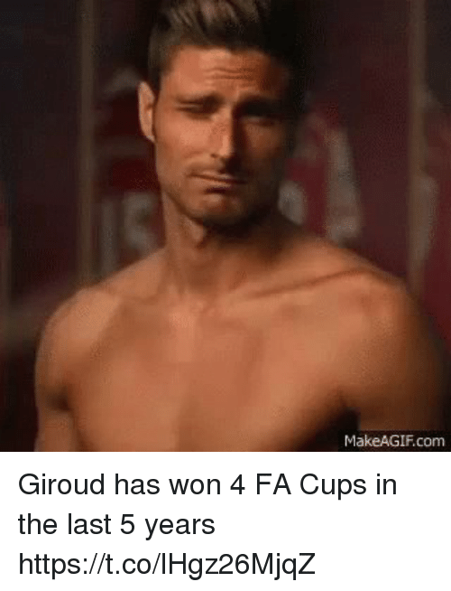 Soccer, Com, and Giroud: MakeAGIF.com Giroud has won 4 FA Cups in the last 5 years https://t.co/lHgz26MjqZ