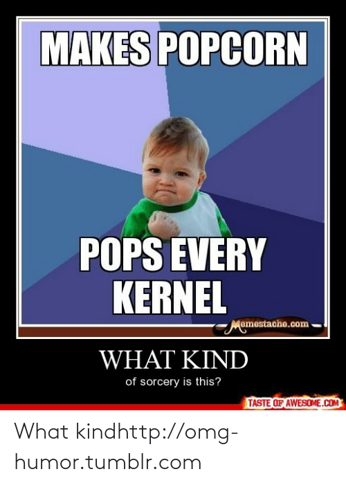 Popcorn: MAKES POPCORN  POPS EVERY  KERNEL  Momestache.com  WHAT KIND  of sorcery is this?  TASTE OF AWESOME.COM What kindhttp://omg-humor.tumblr.com