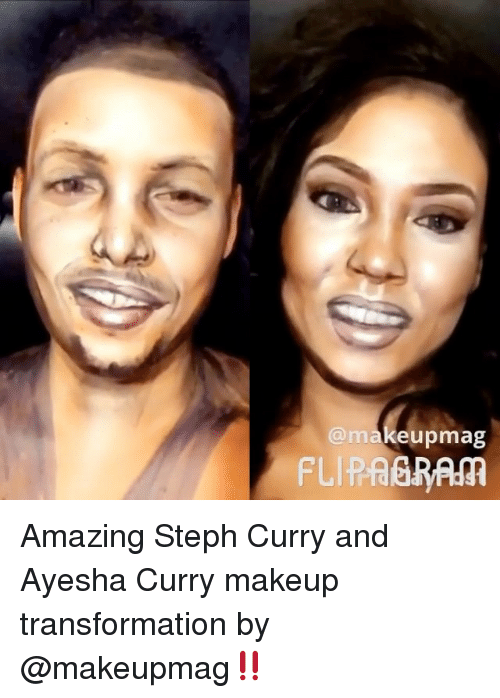 Ayesha Curry, Basketball, and Golden State Warriors: makeupmag  FLIP ABRAM Amazing Steph Curry and Ayesha Curry makeup transformation by @makeupmag‼️