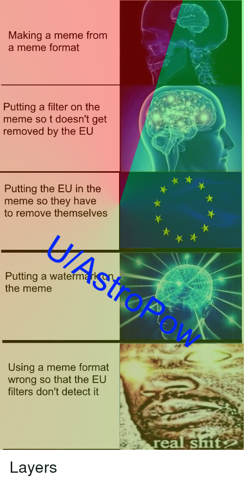 Meme, Shit, and Dank Memes: Making a meme from  a meme format  Putting a filter on the  meme so t doesn't get  removed by the EU  Putting the EU in the  eme so they have  to remove themselves  U/AstroPa  Putting a waterm  the meme  Ow  Using a meme format  wrong so that the EU  filters don't detect it  eal shit