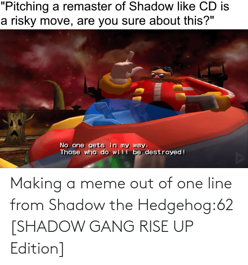 rise up: Making a meme out of one line from Shadow the Hedgehog:62 [SHADOW GANG RISE UP Edition]