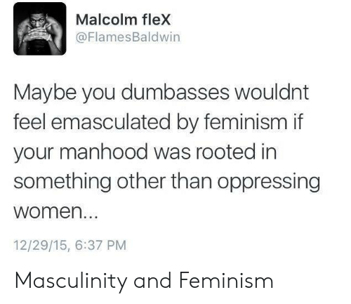 Feminism: Malcolm fleX  @FlamesBaldwin  Maybe you dumbasses wouldnt  feel emasculated by feminism if  your manhood was rooted in  something other than oppressing  women...  12/29/15, 6:37 PM Masculinity and Feminism