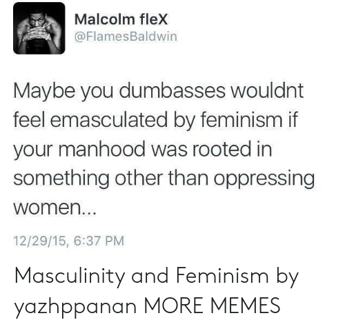 Feminism: Malcolm fleX  @FlamesBaldwin  Maybe you dumbasses wouldnt  feel emasculated by feminism if  your manhood was rooted in  something other than oppressing  women...  12/29/15, 6:37 PM Masculinity and Feminism by yazhppanan MORE MEMES