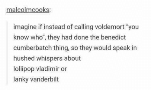 """Benedicted: malcolmcooks:  imagine if instead of calling voldemort """"you  know who"""", they had done the benedict  cumberbatch thing, so they would speak in  hushed whispers about  lollipop vladimir or  lanky vanderbilt"""